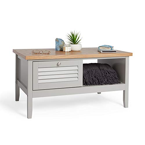 VonHaus Grey Coffee Table – Grey & Ash Wood Veneer Coffee Table With Storage Drawer & Shelf With Satin Silver Handle for Living Room
