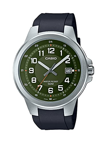 Casio Men's Stainless Steel Quartz Resin Strap, Black, 24 Casual Watch (Model: MTP-E190-3BVCF)