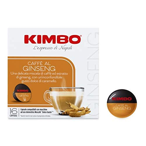 Kimbo Capsule Caffè Al Ginseng Compatibili Nescafé Dolce Gusto, 4 Astucci Da 16 Capsule (Totale 64 Capsule) - 512 g