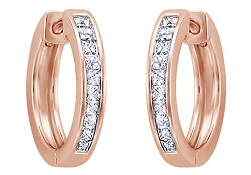 Taglio principessa bianco naturale diamante orecchini a cerchio in oro bianco massiccio 14ct 585(0.5Cttw) e oro rosa 14 ct, colore: Pink, cod. UK-CMR-1943107103-RG