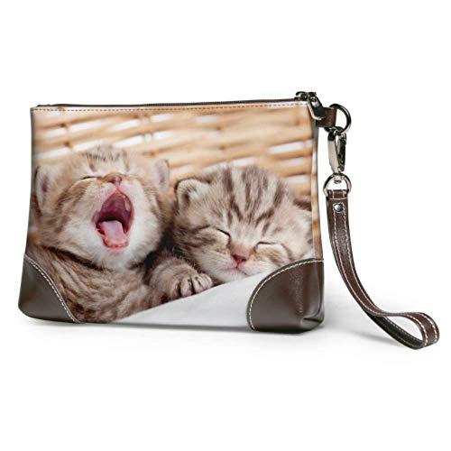 Hdadwy Bolso de mano Adorables gatitos pequeños Cesta de mimbre Cartera de cuero Cartera de mano Cartera para mujer Monedero Llavero para mujer Smartphone Monedero