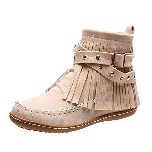 HEling Botas cortas para mujer vintage con cremallera plana con flecos de combate botas de cowboy botas redondas antideslizantes medianas botas chunky Square hebilla, beige, 37 EU