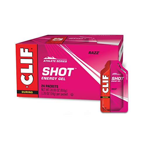 CLIF SHOT  Energy Gels  Razz  NonGMO  NonCaffienated  Fast Carbs for Energy  High Performance amp Endurance  Fast Fuel for Cycling and Running 12 Ounce Packet 24 Count