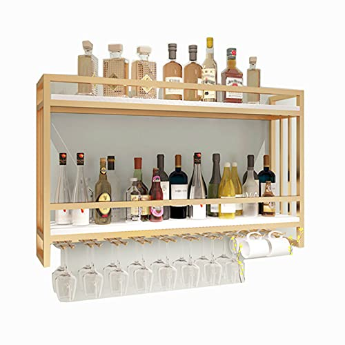 Estante Para Vino Montado En La Pared De Madera Maciza De Hierro, Botella De Vino Colgante Y Soporte Para Vidrio, Estante De Exhibición De Vino, Para De Barra De Cocina, Capacidad Para 20 Vasos,Blanco