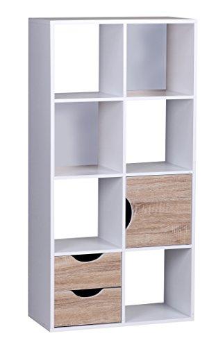 WOHNLING WL1. 429 estantería con cajones y Puerta Blanco/marrón