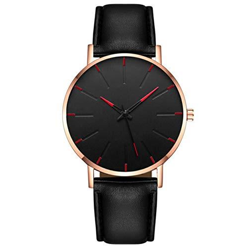 YXDS Reloj para Hombre Exquisita Correa de Cuero Reloj Ultrafino Reloj de Lujo para Hombre Esfera de Acero Inoxidable Estilo Casual