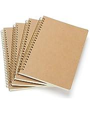 VEESUN Liten A5-spiral anteckningsblock 4 set, kraftomslag tom sida (80 ark) skissbok skissblock, klassisk ficka anteckning bok ritblock reportrar anteckningsblock, bra för memon, målning och graffiti
