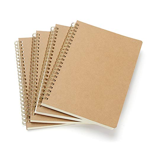 VEESUN Bloc de Notas Espiral A5, Pack de 4 Cuaderno de notas Tapa Blanda Cubierta de Kraft 160 Páginas Diario de Viaje Libreta Hojas Blancas Pequeña Diarios para Escolar Escribir Professor
