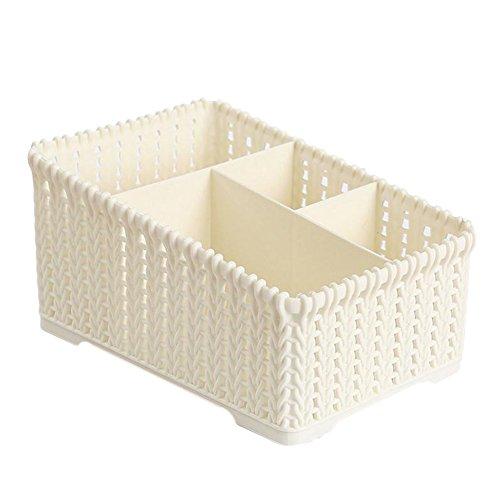 Scrox 1 Pcs Boîte de rangement cosmétique boîte de rangement jouet boîte de rangement Stockage de bureau Pinceau de maquillage Stockage Lait Démaquillant size 19*14*10cm (Beige)