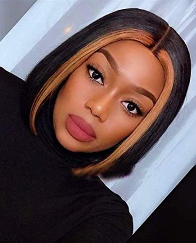 CQW Short Bob Part Lace Front Wigs for Black Women, Highlights Black Brown Middle Part Straight Synthetic Hair Wig, Cute Fashion Natural Looking Heat Resistant Wig for Daily Cosplay Party C005