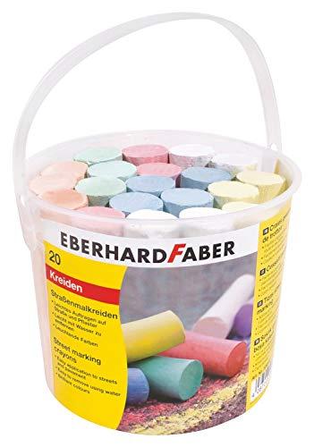 Eberhard Faber 526512 - Straßenmalkreiden in 8 leuchtenden Farben, Eimer mit 20 Kreiden, für bunten Malspaß auf Asphalt, Straßen und Gehwegen