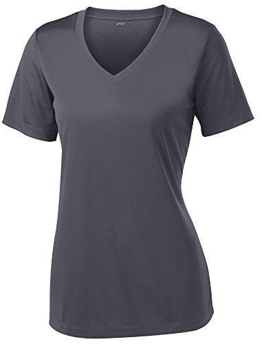 Opna Damen Kurzarm-Shirt, feuchtigkeitsableitend, Sport-Shirt, Größen XS-4XL, Eisengrau,