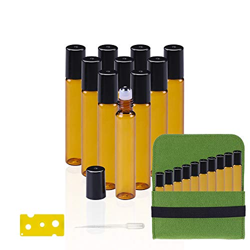 Essential Oil Roller Bottles, Binca Vidou 10ml Refillable Glass Roller-on Bottles with Removable Stainless Steel Roller Balls 10 PCS Perfect for Travel Face Massage (Amber)
