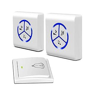 Xinfly - Timbre inalámbrico impermeable IP55 autoalimentado ecológico con 1 botón transmisor con indicador LED y 2 receptores enchufables (blanco, 1 x 2)