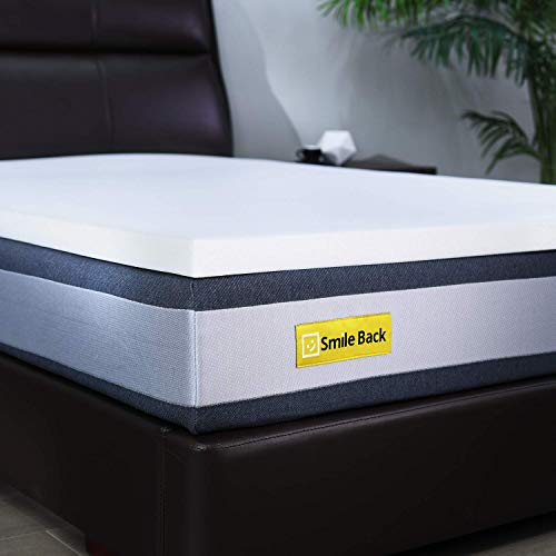 Smile Back 5CM Pure Memory Foam Mattress Topper, Pressure Relief, CertiPUR-EU (Single Size - 90x190 cm)