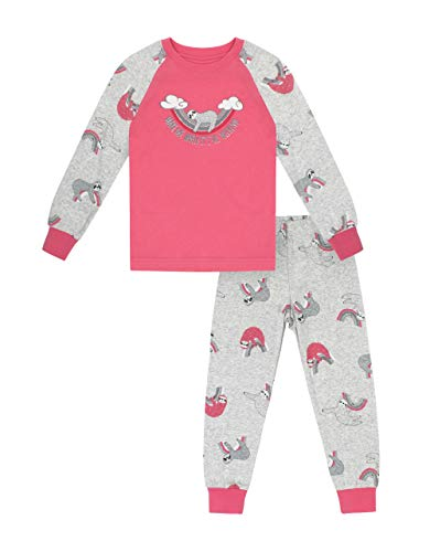Petit Lem Girl 2Pc Pj Set: L/S Top and Pant Knit, 404 Coral, 2