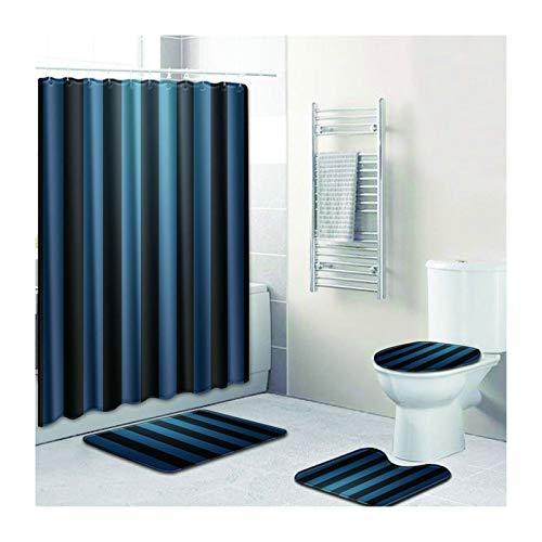 MaxAst Duschvorhang Badewanne Badematte 4Teilig Set Vertikales Muster Dunkelblau Duschvorhang 180X180 Badezimmer Matte Set 50x80
