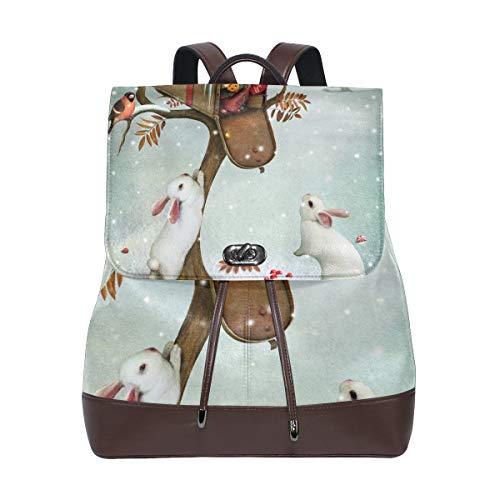 COOSUN Damen-Rucksack mit Weihnachts-Briefkasten und Kaninchen, aus PU-Leder, für Reisen, Schule, Freizeit, Tagesrucksack