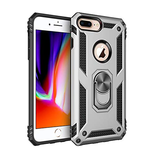weishan Caso Nuevo Estuche de protección a Prueba de choques híbrido de Doble Capa con Soporte de Anillo Giratorio de Metal de 360 Grados para iPhone 6 Plus / 6S Plus / 7 Plus / 8 Plus