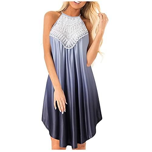 NMSL Women Dresses Casual Floral Print Plus Size Summer Ladies Dress Pink Tie Dye Dress Gray Large