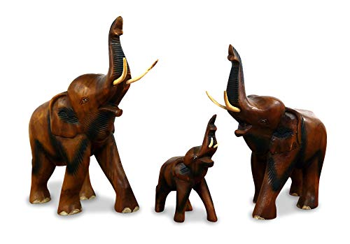 livasia Holzelefant (Rüssel Oben) Tierskulptur aus Massivholz, Holzfigur (mittlerer Elefant)