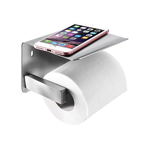 qobobo® V2A Edelstahl Toilettenpapierhalter Wandbefestigung , Rollenhalter / Papierhalter für WC Toilette Papier Halter mit Ablage z.B. Handy, 2 Befestigungsmöglichkeiten : Bohren oder 3M Kleben
