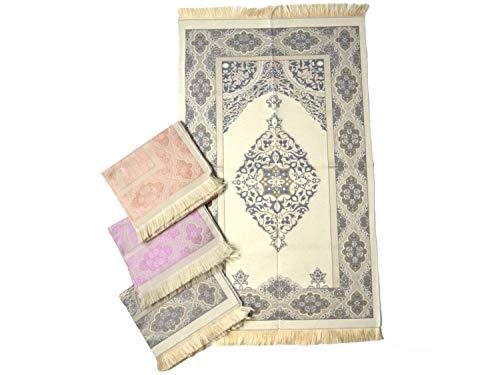 Imanpaper - Muslimische Gebetsteppich Extra dünn in blau beige | Namaz-LIK Seccade, Gebets Matte | Salah Sejadah, Islamic Prayer mat Rug, für das Gebet im Islam Idee 1,20x0,68m