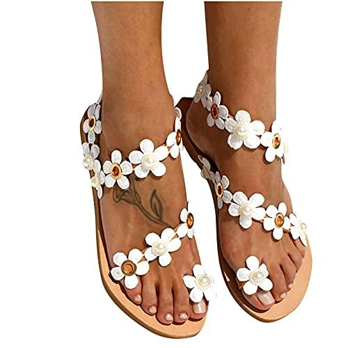 Nuevo 2021 Sandalias Mujer Chanclas Mujer Verano Fiesta planas Sandalias de Vestir Playa Flores casual Flip flop Chanclas para Mujer Cómodo Zapatos Sandalias de Punta Abierta Roma
