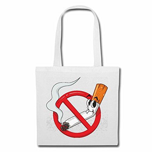 Tasche Umhängetasche NICHTRAUCHER NO Smoking Zigarette Zigaretten Qualm ANTIRAUCHER KETTENRAUCHER RAUCHFREI RAUCHVERBOT Einkaufstasche Schulbeutel Turnbeutel in Weiß