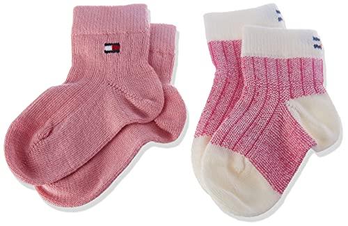 Tommy Hilfiger Birdseye Baby Socks Calcetín clásico, Pink Combo, 23 para Bebés
