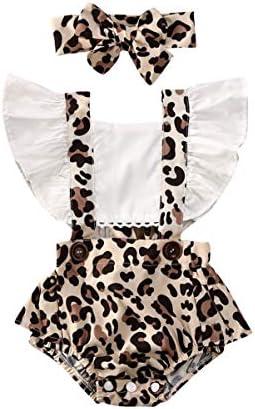 2Pcs Newborn Baby Girl Leopard Ruffles Sleeve Bodysuits Jumpsuit Headband Clothes Romper Set product image