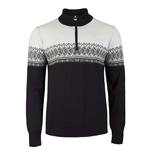Dale of Norway Hovden Masculine Sweater, Black/Light Charcoal/Smoke/Beige/Off White, Medium