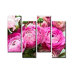 Wocatton Bouquet of Pink Ranunculus Buttercup Flowers Ranunculus asiaticus Wall Art Background Decor Pictures Print On Canvas Art Stretched and Framed Perfect Home Decoration