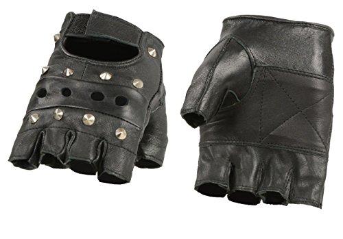 M Boss BOS37560 Motorrad-Handschuhe für Herren, mit Nieten, Leder, fingerlos, Schwarz - Schwarz - XXX-Large