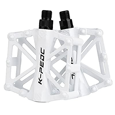 boruizhen Bike Platform Pedals Lightweight Road Cycling Bicycle Pedals for MTB BMX (White)