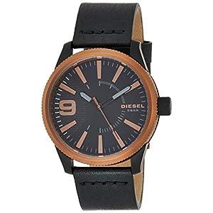 Diesel Men's Rasp Stainless Steel Japanese-Quartz Watch with Leather Calfskin Strap, Black, 24 (Model: DZ1841)