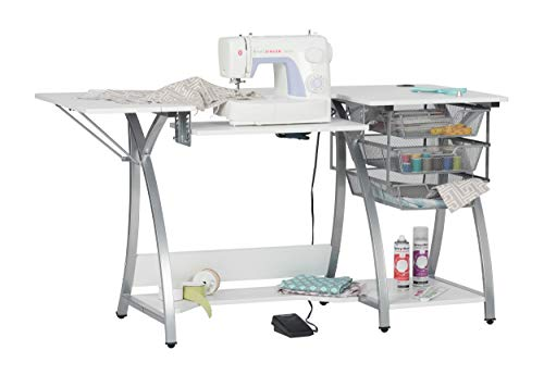 """Sew Ready Pro Stitch Sewing Machine Table with 3-Wire Mesh Drawers and Drop Leaf Side Shelf, Craft Table and Computer Desk, Powder Coated Steel Frame in Silver with 47.25"""" W White Top, ,Silver/White"""