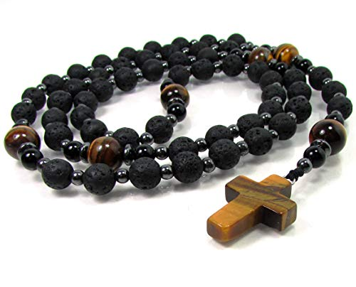 Volcanic Lava and Tiger Eye Gemstone Handmade Rosary Necklace, Mens Cross Necklace, Gemstone Rosary, Beaded Rosary, Handmade Cross Necklace, Gift Box