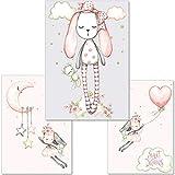 artpin® 3er-Set Poster Kinderzimmer Deko - Mädchen