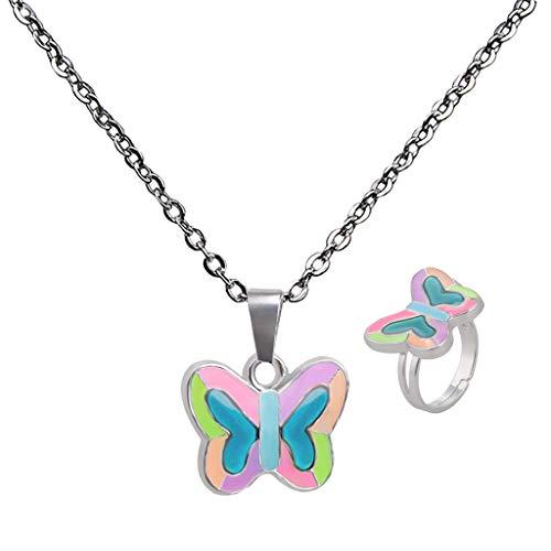 Baoblaze Stimmungskette Stimmungsring \'\'Schmetterling\'\' (Anhänger verändert die Farbe) für Damen Mädchen Halsband Halskette