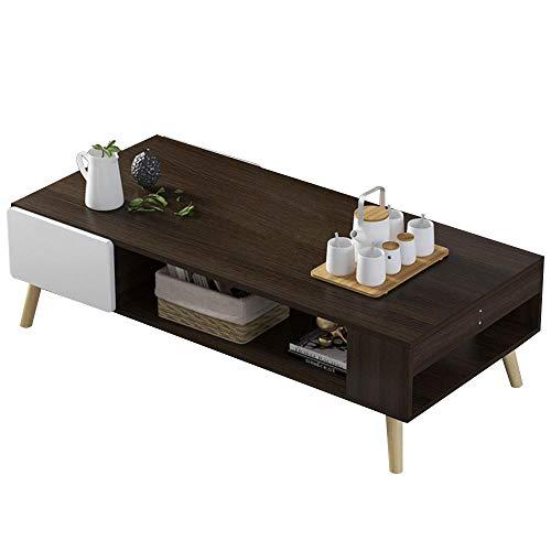 Bakaji Tavolino Divano Tavolo Caffè da Salotto Rettangolare Design Moderno in Legno MDF con Ripiano Inferiore e 2 Cassetti Bianchi Dimensione 100 x 53 x 42 cm (Brown)