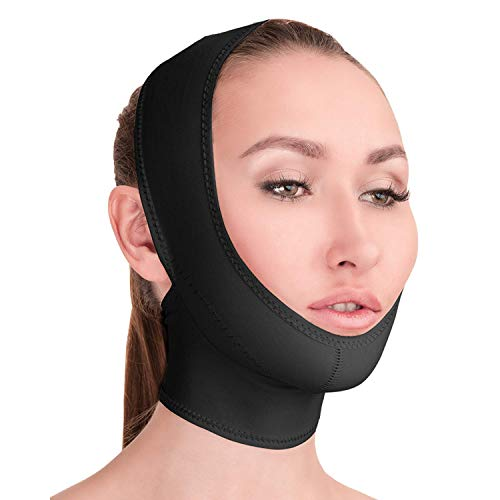 Post Surgical Chin Strap Bandage for Women - Neck and Chin Compression Garment Wrap - Face Slimmer, Jowl Tightening (L)