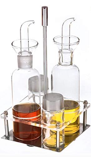 TIENDA EURASIA® Oliera salvagoccia in vetro – Set 4 pezzi, oliera, acetiera, zuccheriera e saliera con supporto metallico