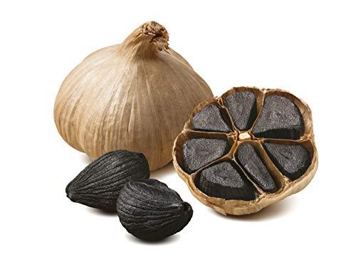 Hymor Schwarzer Knoblauch aus Las Pedroñeras Spanien - 4 Knollen ( ca. 45g je Knolle ) - 90 Tage fermentiert aus bestem lila Knoblauch, Black Garlic schwarz Knoblauch Ajo Negro 100% natürlich vegan