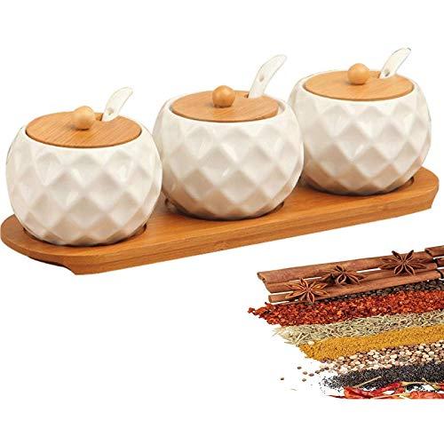 Olcubd Tanques de Especias y bastidores de perfumes, 3 Botellas de cerámica fragantes, con una Caja de Perfume con Herramientas de Perfume de Madera