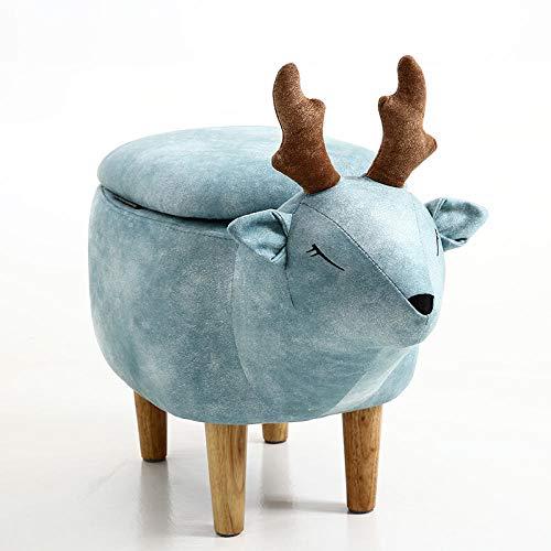 hamacy Tierhocker Kinderhocker Fußhocker Gepolsterter Hocker, Tier Hocker für Kinder, Sitzhocker mit Stauraum, Polsterhocker für Kinderzimmer, Tier-Design-Blau mit Aufbewahrungsbox