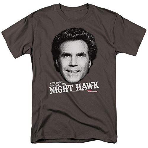 Trevco Step Brothers Night Hawk Unisex Adult T Shirt for Men and Women, X-Large Charcoal