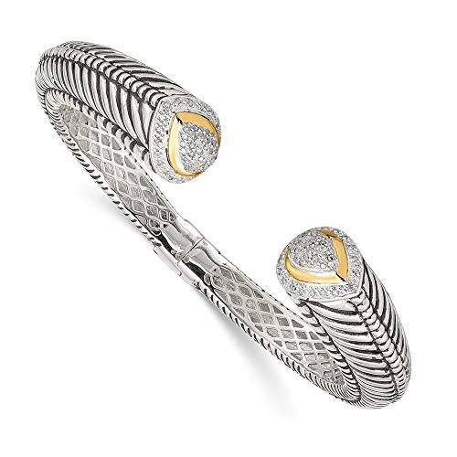 Jewels By Lux Plata esterlina w/14K 1/2ct. Diamante con bisagras Cuff Pulsera, Quilates de Diamante 0.5