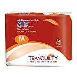 Tranquility ATN Adult Disposable Incontinence Briefs, Refastenable Tabs, with All-Through-The-Night Protection, M (32'-44') - 12 ct
