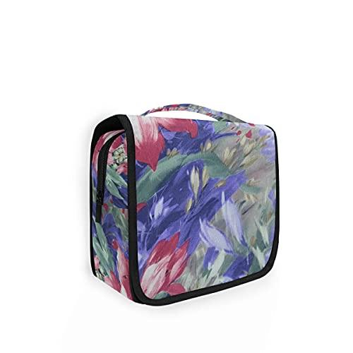 Bolsa de aseo de viaje para colgar 23 colores retro patrón con flores kit de maquillaje estuche organizador de cosméticos para hombres y mujeres